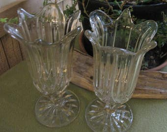 Vintage Large Crystal Tulip Vases or Candle Holders or Parfait Glasses Set of Two (2)