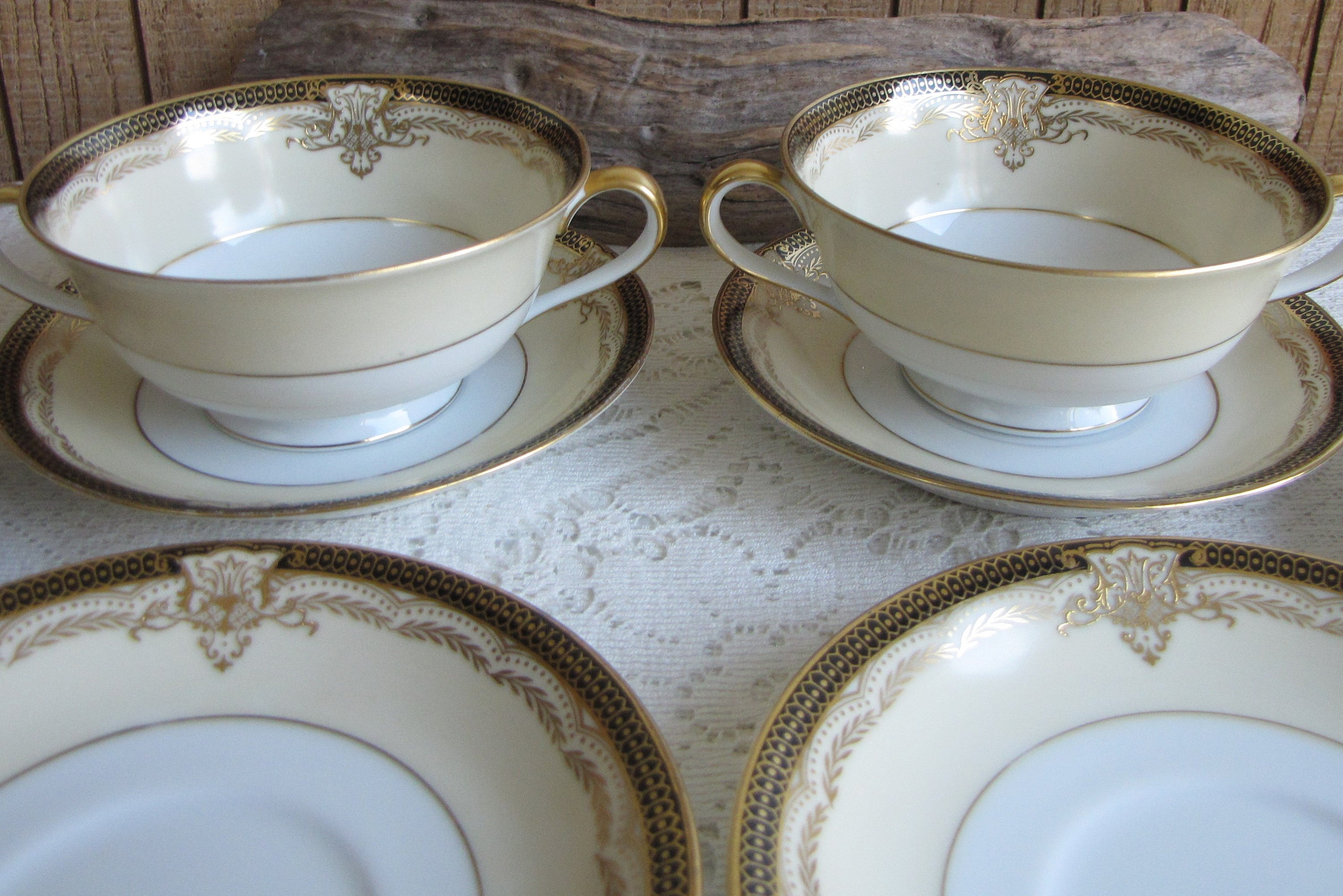 Piece Set 8 Noritake Valiere Cream Soup Bowls and Saucers Vintage Dinnerware and Replacements Eight