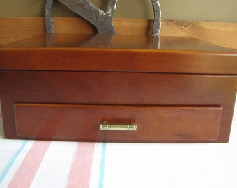 Vintage Jewelry Box Walnut Finish