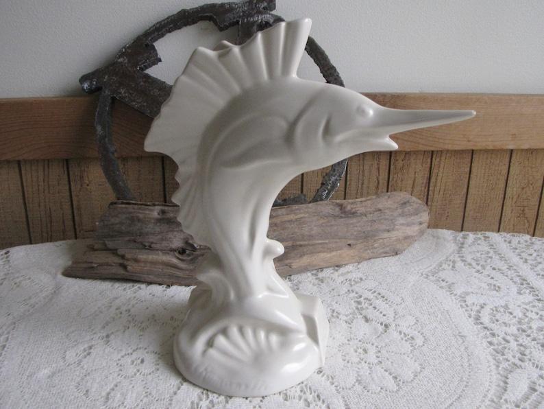Metlox Romanelli Sailfish Figurine California Pottery Vintage Beach Decor Ocean Art Planters