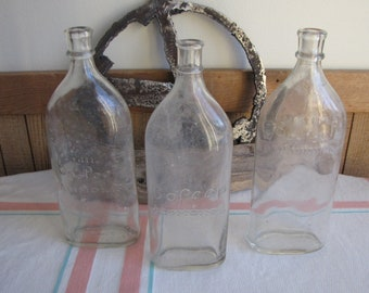 Lil' Bo Peep Ammonia Bottles Set of Three (3) Vintage Old Bottles 1910's