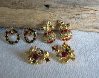 Small Christmas Earrings set of 3 Vintage Holiday Jewelry and Accessories