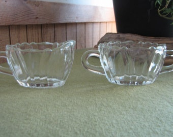 Heisey Crystolite Open Sugar Bowl and Creamer Pitcher 1937 to 1957 Vintage Dinnerware and Replacements