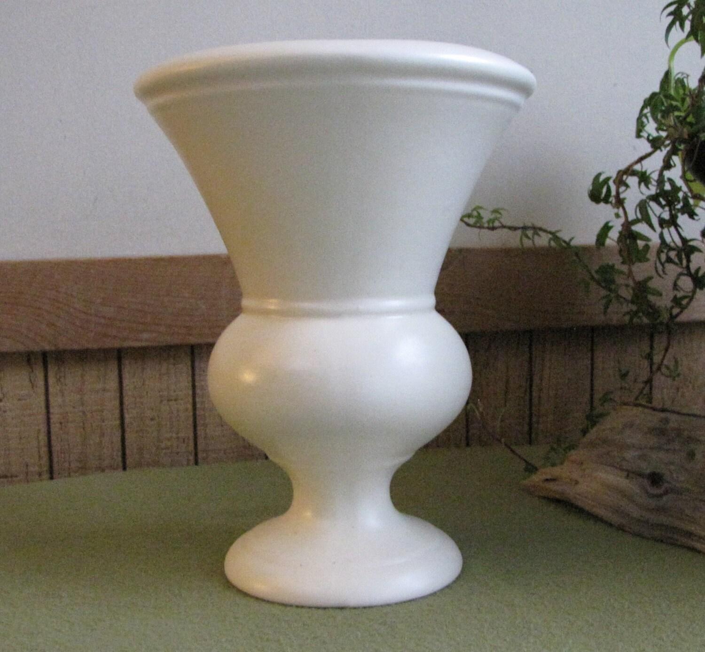 Vintage Tall White Urn Vase Footed Flower Vase Florist