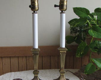 Pair of Brass Buffet Lamps Vintage Lighting and Lamps Set of Two (2)