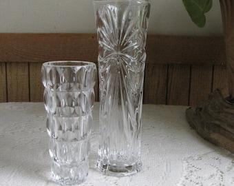 Crystal Bud Vases Set of Two (2) Vintage Flower Vase and Florist Ware Fostoria Grace Pattern