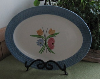 Vintage Meat Platter with Floral Designed and Blue Tiled Trimmed