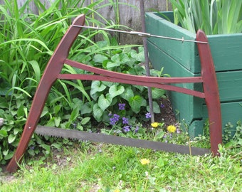 Vintage Bow Saw Industrial Salvage Rustic Decor