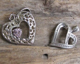 Two Heart Pendants Sterling Silver Vintage Jewelry and Accessories