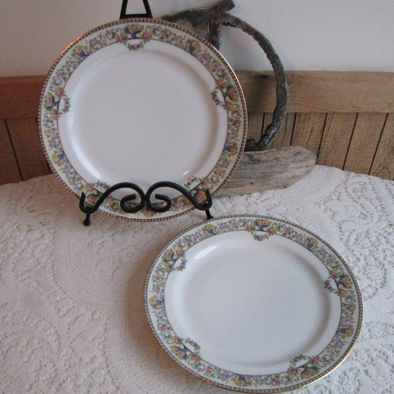 Dinner Plates Bawo /& Dotter Dinner Plates Circa 1920s Art Deco Vintage Dinnerware and Replacements Set of Two 2