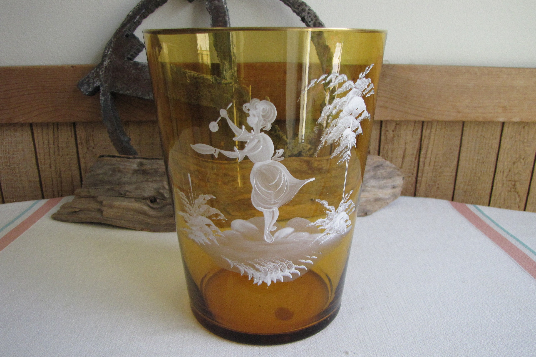 Cobalt Blue Hand Painted Bohemian Vase Art Glass Gold