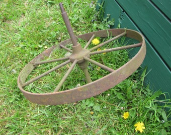 Iron Wheel Vintage Yard and Garden Decor Local Delivery Available (see FAQs)