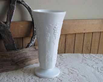 Vintage Milk Glass Vase Tall Paneled Grape White Florist Ware and Flower Bouquets