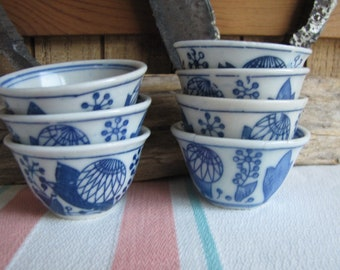 Vintage Sake Cups Set of 7 Small Cups