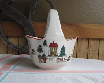 Jamestown Joy of Christmas Candy Basket Vintage Holiday Dinnerware and Replacements