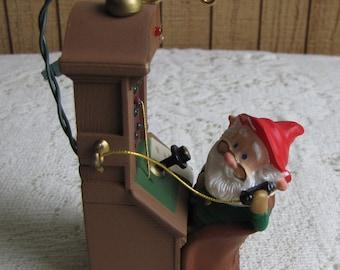 Vintage Hallmark Magic Keepsake Ornament 1991 Santa's Hot Line Lighted Christmas Decor