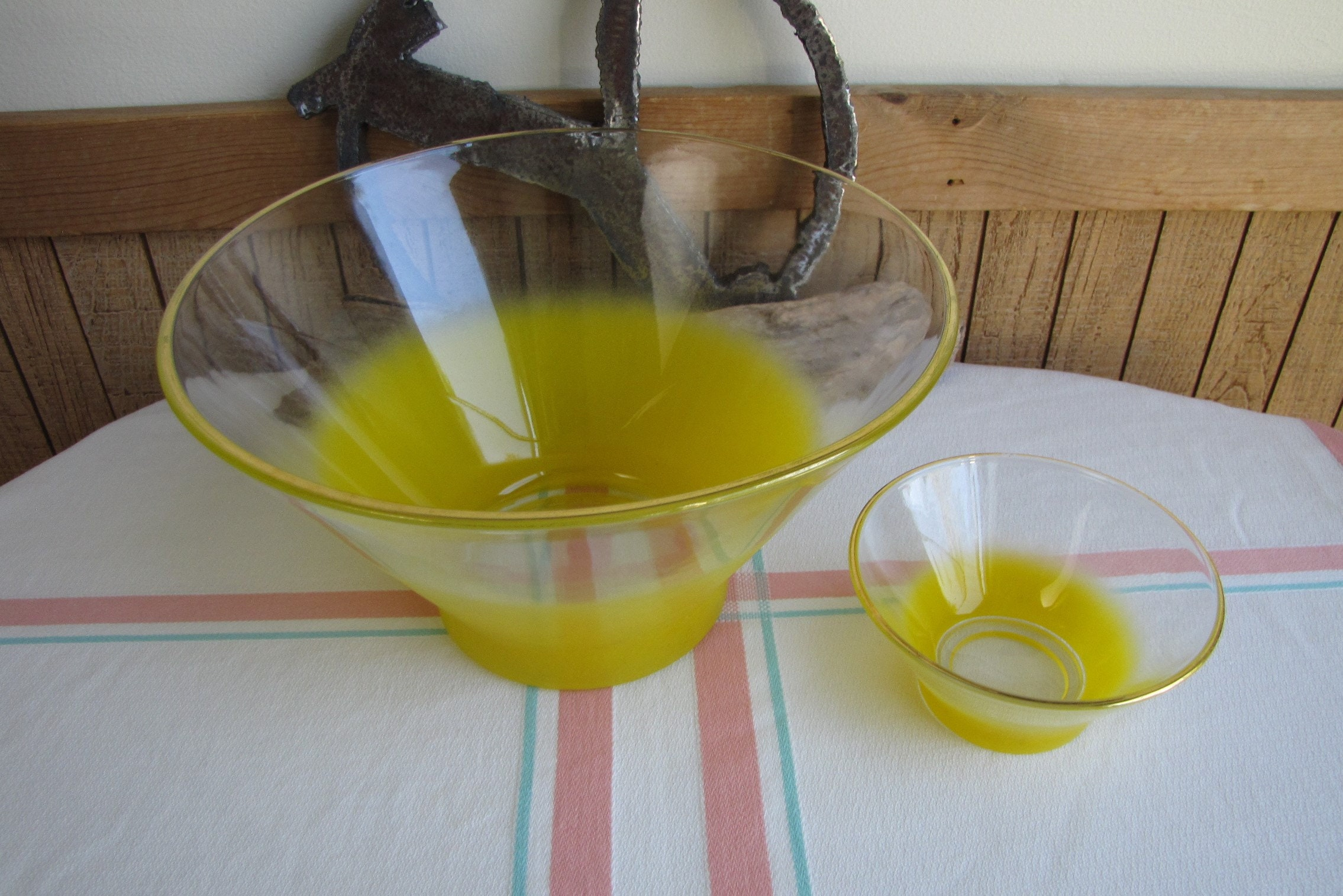 Vintage West Virginia Bright Yellow Blendo Frosted Glass Chip n Dip Bowl Large Gold Rimmed
