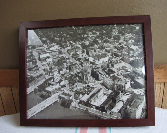 Elgin IL Print Framed Downtown Vintage Cities and Decor