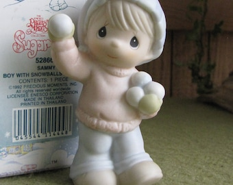 Precious Moments Sugar Town Sammy Boy with Snowballs Figurine Butterfly Symbol 1993 Retired