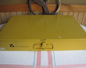 KAR Metal Storage Box Yellow Vintage Boxes and Storage Industrial Salvage