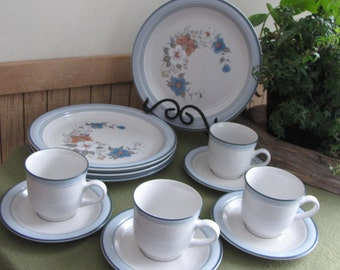 Vintage Blue Bouquet Set of Four (4) Dinner Plates and Four (4) Cups and Saucers by Johann Haviland Crowning Fashion