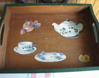 Wooden Breakfast Tray Vintage Serving Trays