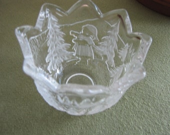Vintage Mikasa Candle Holder Christmas Story Crystal Bowl Holiday Trees and Candles Centerpieces
