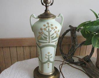 Art Deco Lamp Green Beaded Vintage Lighting Circa 1930s Vintage Home Decor and Lights