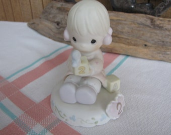 Precious Moments Growing in Grace Second Birthday Figurine Heart Symbol 1996