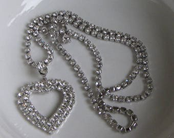 Rhinestone Heart Necklace Vintage Women's Jewelry and Accessories Formal Wear