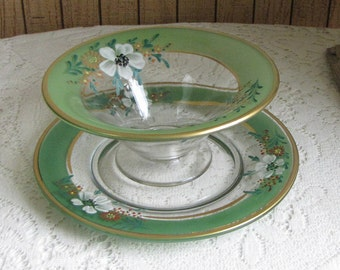 Dogwood Green Bowl and Underplate Hand Painted Indiana Glass Co. 1930s Vintage Dinnerware and Replacements