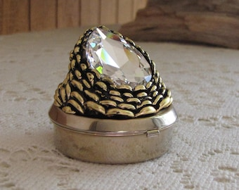 Trinket Box Gold Toned with Large Stone Vintage Jewelry and Accessories
