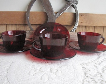 Royal Ruby Cups and Saucers 3 Cups and 4 Saucers Anchor Hocking Vintage Drinkware