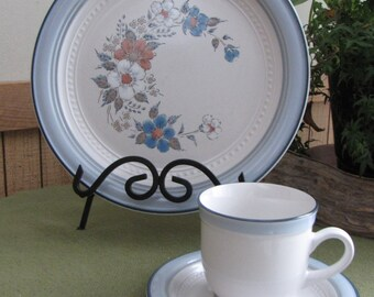 Blue Bouquet Plate, Cup and Saucers by Johann Haviland China Crowning Fashion