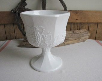 Vintage Milk Glass Compote Paneled Grapes Pattern White Footed Bowl and White Home Decor