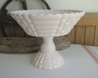 Pink Milk Glass Compote Louisa Vintage Jeannette Glass Co. 1957-1959