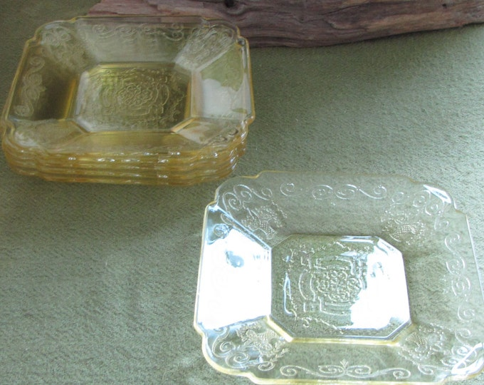 Lorain Yellow Depression Glass Bread Plates Vintage Dinnerware and Replacements Indiana Glass Company 1929 to 1932 Set of Six (6)