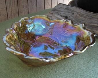 Vintage Amber Carnival Glass Bon Bon Bowl Indiana Glass Co Loganberry
