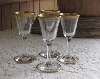 Gold Trimmed Cordial Glasses Set of Four (4) Vintage Bar and Drinkware Cambridge Wedding Band