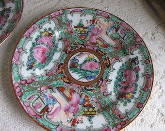 Japanese Imari Bread Plates Set of Two (2) Canton Rose Pattern Pink and Blue Vintage Dinnerware and Replacements