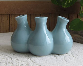 Blue Tripled Pots Pottery Vase Vintage Florist Ware and Home Décor Flower and Bud Vases