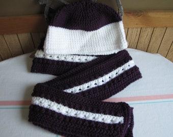 Winter Scarf and Hat Purple and White Irish Stitch 100% Acrylic Yarn