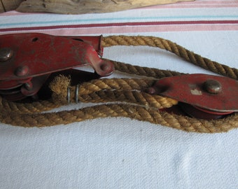 Vintage Ratcheting Lever Pulley Industrial Salvage and Rustic Tools