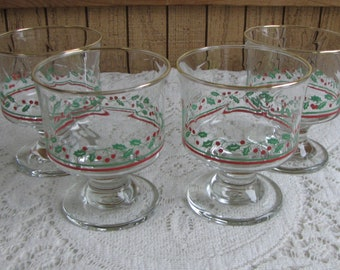 Arby's Christmas Sherbet Glasses Holly and Berries Vintage Holiday Glassware Set of Four (4) Low Wine Glasses