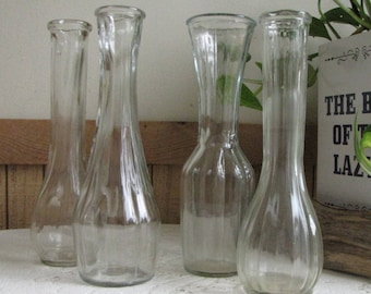 Bud Vases Set of Four (4) Different Styled Centerpiece and Flower Vase Vintage Florist Ware