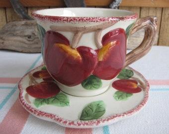 Cracker Barrel Apple Coffee Cups Vintage Tea Cups and Drinkware