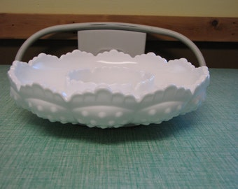 Fenton Hobnail Milk Glass Relish Tray Vintage Dinnerware and Replacements