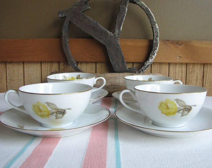Cotillion Cups and Saucers by Sango Set of 4 Vintage Dinnerware and Replacements