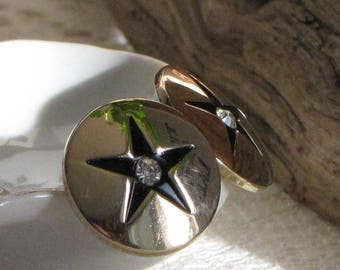 Swank Gold Toned Cuff Links with Stars and Rhinestones Vintage Men's Jewelry and Accessories