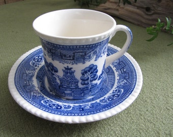 Blue Willow Ware Demitasse Cup and Saucer Solian Ware by Simpson Potters Ltd. Circa 1950